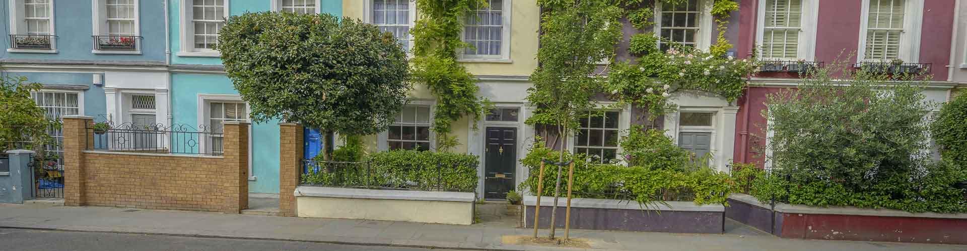 Londres - Albergues en el distrito Notting Hill . Mapas de Londres, Fotos y Comentarios para cada Albergue en Londres.